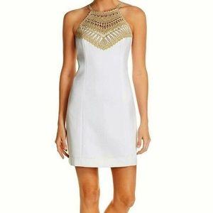 Lilly Pulitzer gold yoke white crocheted dress 4